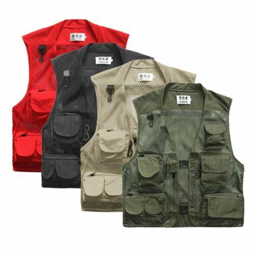 Men Fishing Vest Multi-Pocket Quick Dry Mesh Vest Jacket Outdoor Waistcoat