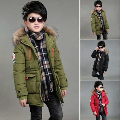 Kids Hooded Puffer Padded Long Jacket Parkas Boys Fashion Winter Coat 6-17 Years