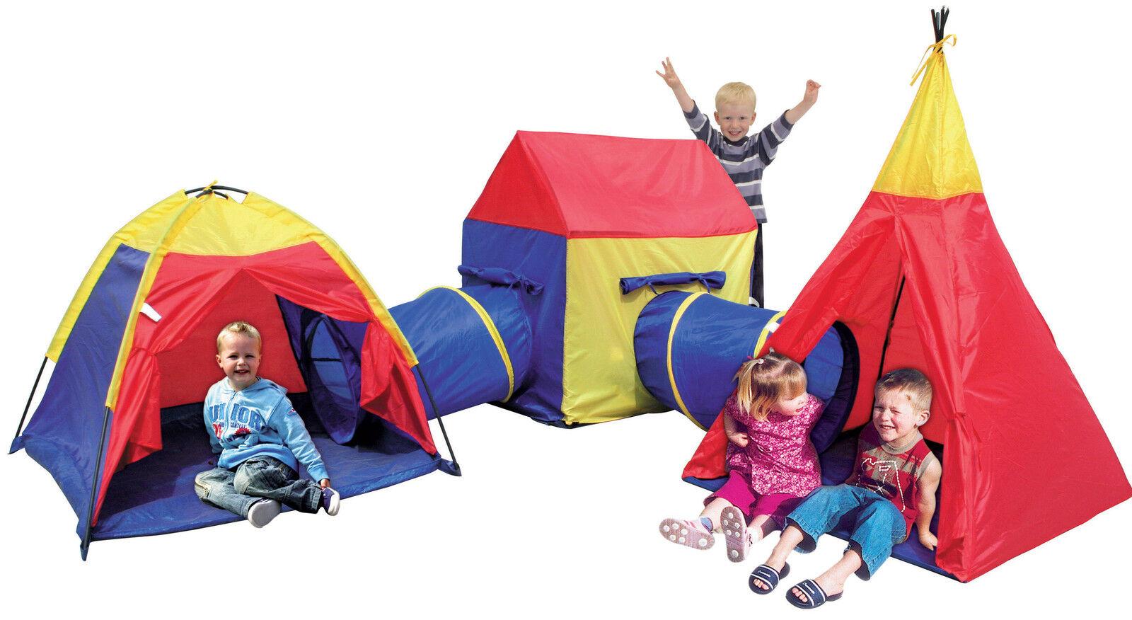 Mega Kinder Zeltstadt mit Zelt Tipi Spielhaus und 2 x x x Krabbeltunnel in and out 0e9f5d