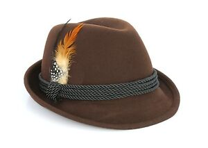 Image is loading Alpine-Holiday-Oktoberfest-Wool-Bavarian-Fedora-Hat-Brown- 2e590fd86557