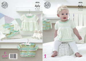 ccb8d4872 King Cole Baby 4Ply Knitting Pattern Dress Cropped or Long Sleeved ...