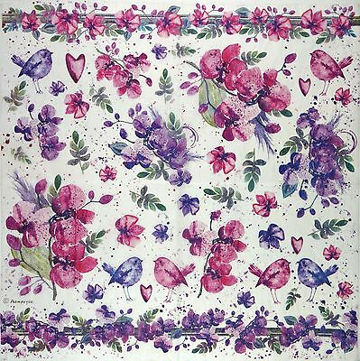 Rice Paper for Decoupage Decopatch Scrapbook Craft Sheet Vintage Painted Flower