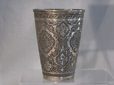 ANTIQUE RUSSIAN 84 SILVER BEAKER - ORNATE HAND TOOLING