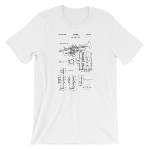 Trompette brevet T-shirt blanc Trompette Shirt 100/% Coton Doux Tee sur noir rouge