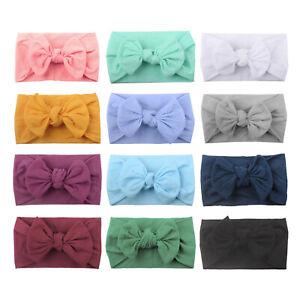 Elastic-Soft-Nylon-Wide-Bowknot-Headbands-Hairband-Knot-Turban-Headwraps-Bows