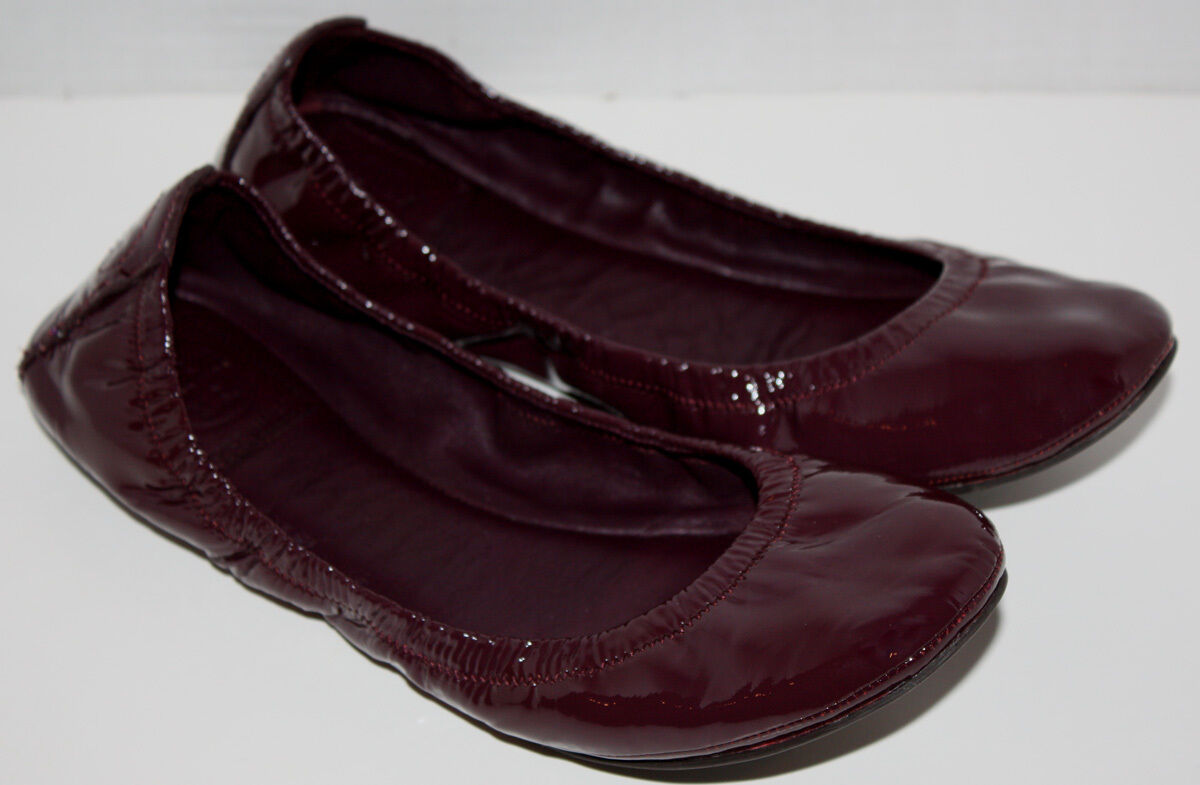 Donna Tory Burch Aria Eggplant Purple Patent Pelle Flats Scarpe Taglia 8