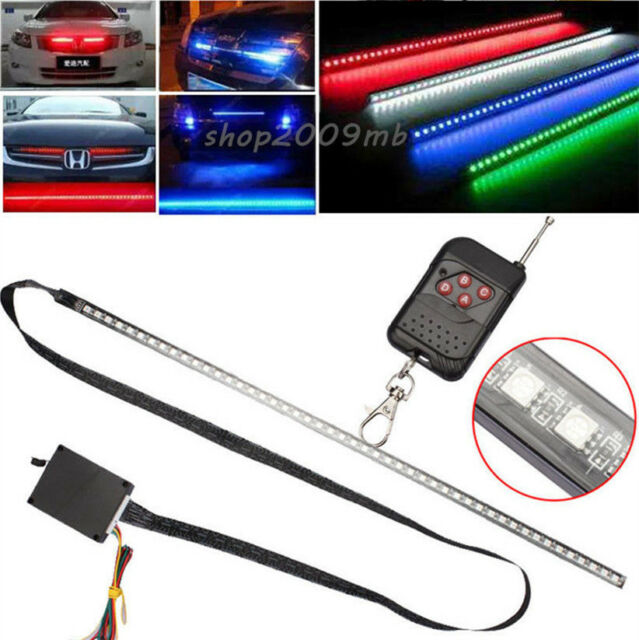 "2x 24/"" RGB 7 colour LED Flexible Knight Rider Scanner Strip Light Waterproof"
