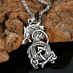 Retro-Silber-Herren-Dragon-Halskette-Anhaenger-Edelstahl-Schmuck-Neu-J2S3
