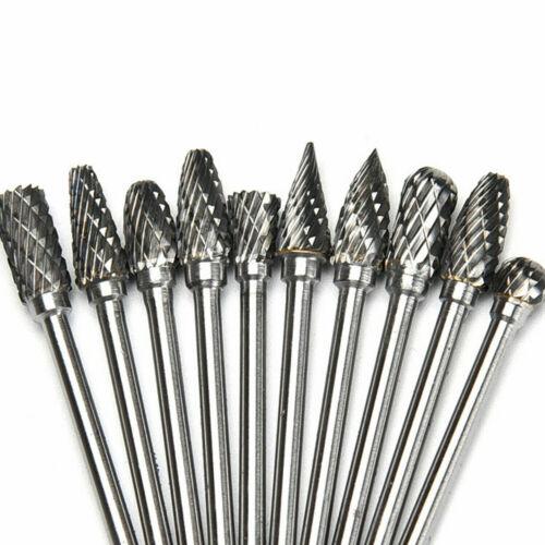 10PCS Rotary Burr Set Head Tungsten Carbide Burrs Shank Die Grinder Bit Tool