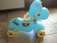 Step 2 blue ride on rolling horse baby toddler vintage