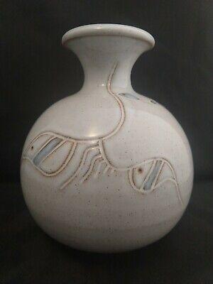 SIGURDAR HAUKSSONAR Signed Tall Art Vase Vintage Studio Pottery Iceland Includes Biography