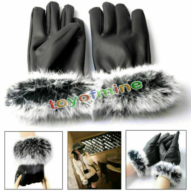 New Fashion Lady Winter Gift Warm Rabbit Fur&PU Leather Five Finger Gloves Black