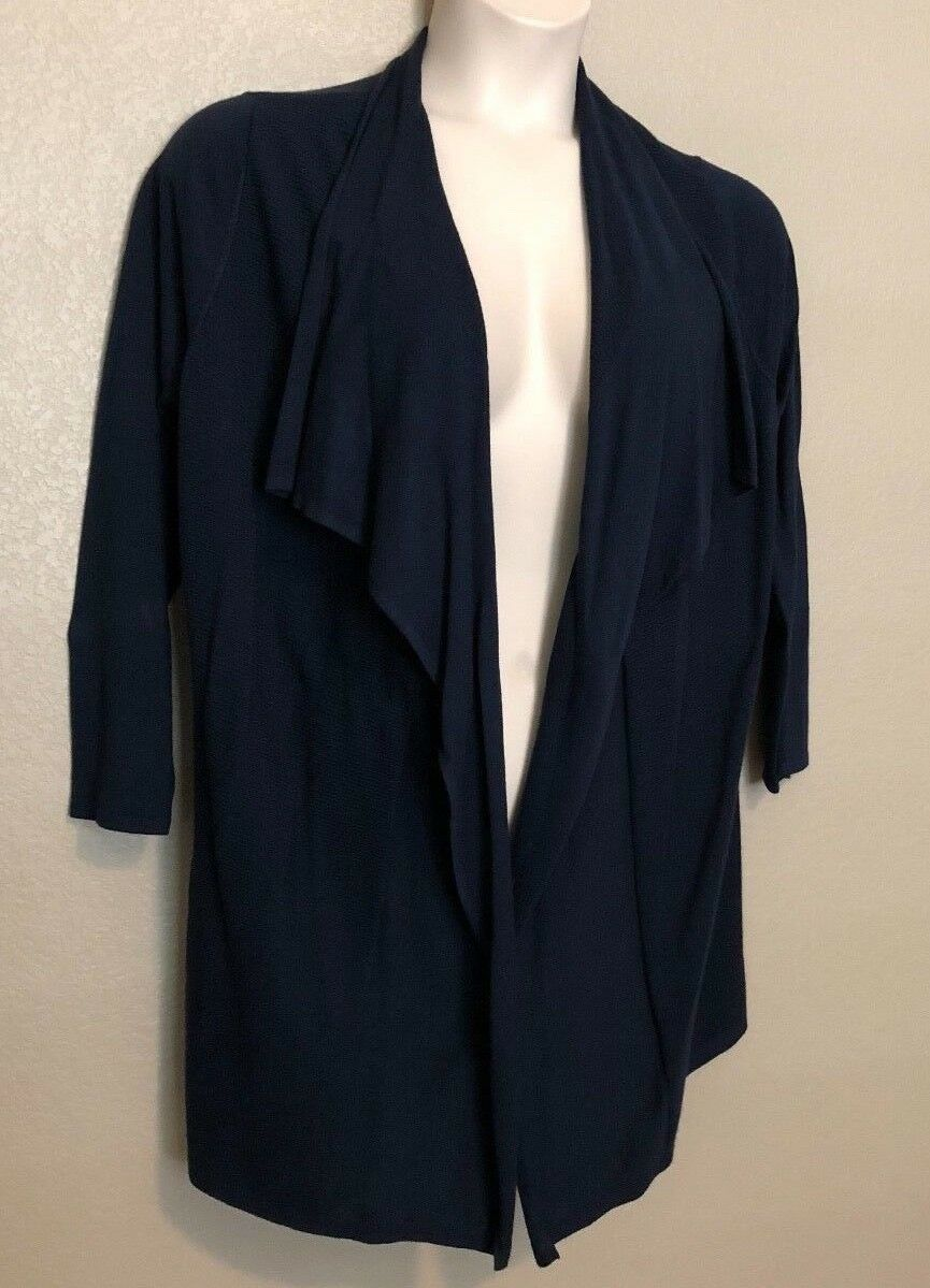NWT Alfani Women's Navy bluee Open Front 3 4 Sleeve Draped Cardigan Plus Size