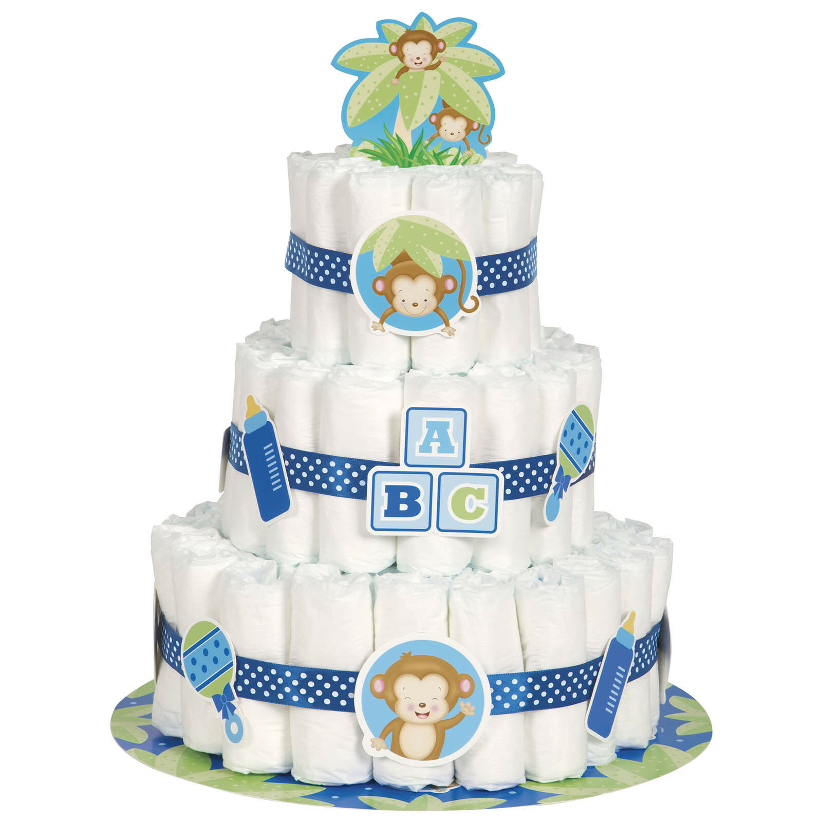 Little monkey blue boy baby shower party diaper nappy cake for Baby boy shower decoration kits