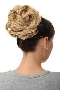 Postiche-Cheveux-Rose-Dutt-Touffue-Volume-Tresse-Blond-Dore-Clair-Melange