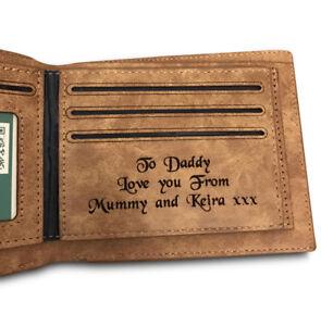 ac69827c6cbd Men s Personalised Engraved Leather Bifold Wallet Credit Card Holder ...