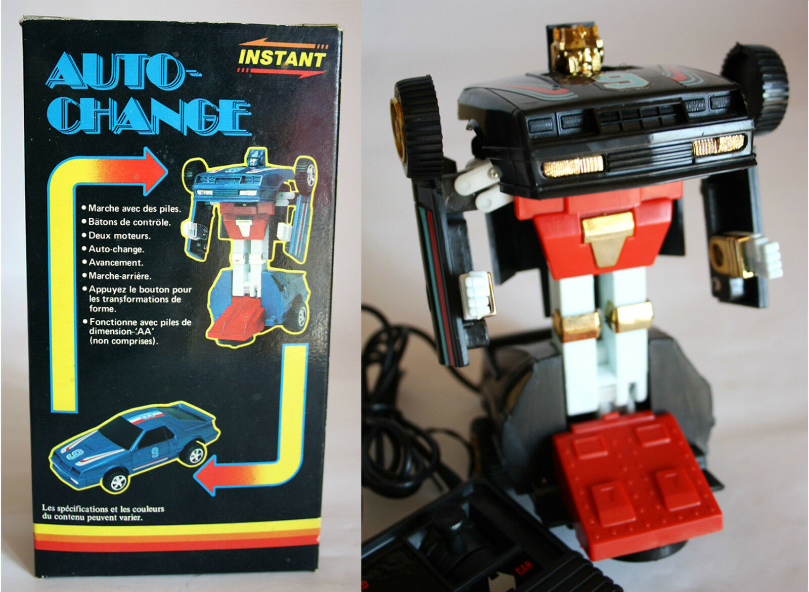 1985 ULTRA RARE TRANSFORMABLE AUTO CHANGE ROBOT HONG KONG BATTERY OP NEW MIB