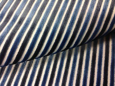 Kravet Thin Stripe Cut Velvet Upholstery Fabric- Ennobled/Royal 1.45 yd 30339-5