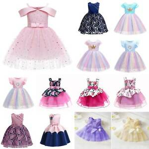Swing Tutu Sequin Dress Bow Flowers Girls Wedding Party Princess Prom Ballgown