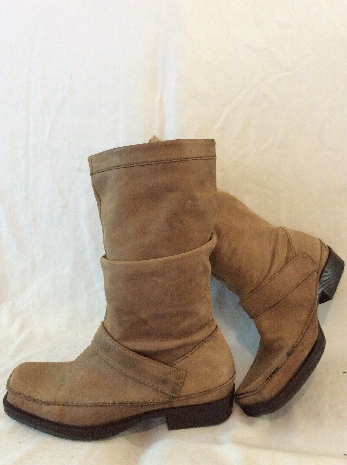 Clarks Brown Mid Calf Leather Boots Size 5