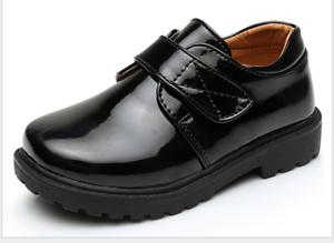 NEW free shipping Boys Black Leather Shoes Kids School Sale Sz.EUR 26-36
