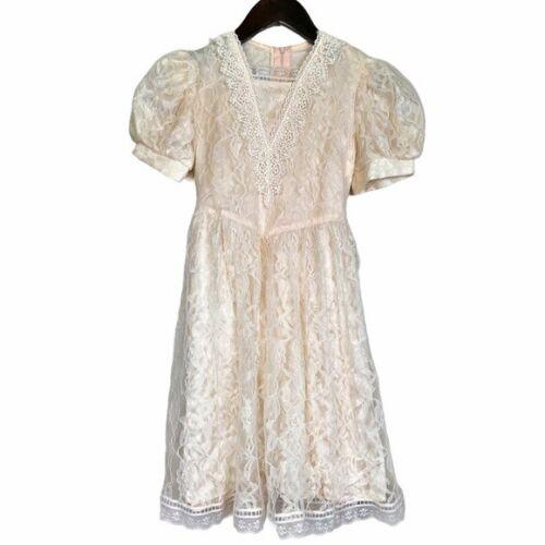 Gunne Sax girls lace dress cream shortsleeved - image 1