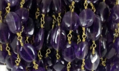 10 Feet Amethyst Oval 6x8-7x9mm Beads Rosary Beaded Chain Gold Plated Wire