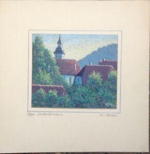::GOUACHE  K.MELBER STUTTGART UNTERTÜRKHEIM ANTIK UM 1930 IMPRESSIONIST SIGNIERT