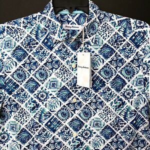 Tommy-Bahama-Silk-Camp-Shirt-Men-039-s-M-Tivoli-Tiles-Madras-Blue-T322856-NEW-135