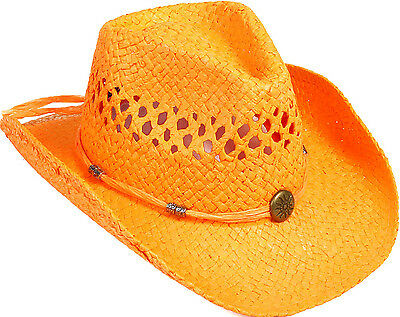 Western Style Cowboy Cowgirl Summer Shapeable Wearable Panama Straw Hat Cap