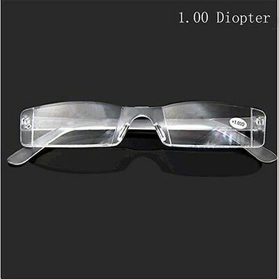 Fashion Reading Glasses Metal Temple Unise Rimless Case Bag 1.00 to 4.00 Diopter
