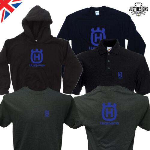 Husqvarna Black Logo T-shirt Zipped Hoodie Polo Shirt Jumper Vest S-5XL Chainsaw
