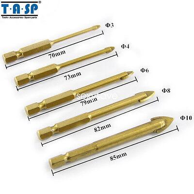 "5pcs Titanium Coated Glass Drill Bit Set Power 1//4/"" 3//4//6//8//10mm Hex Shank Bit"