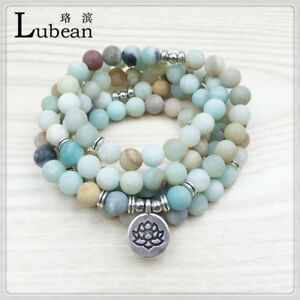 Lubean-Fashion-Women-s-Matte-Amazonite-108-Mala-Beads-Bracelet-or-Necklace-Hi
