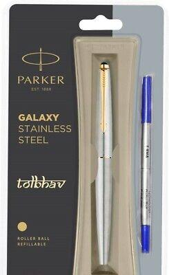 Parker Frontier Steel GT Roller Ball RB Pen Gold Trim Rollerball Blue Nib New