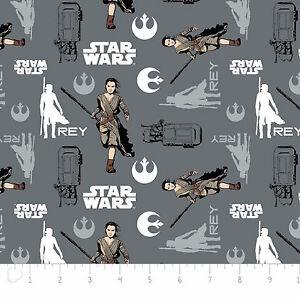 Star-Wars-The-Force-Awakens-Rey-Iron-Grey-Camelot-100-cotton-Fabric-by-the-yard