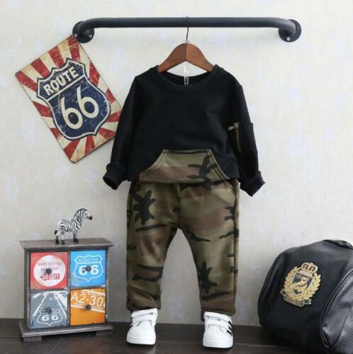 Pants Set 2pcs Kids Baby Boys Clothing Suits Infant Boy Camouflage Shirt Tops
