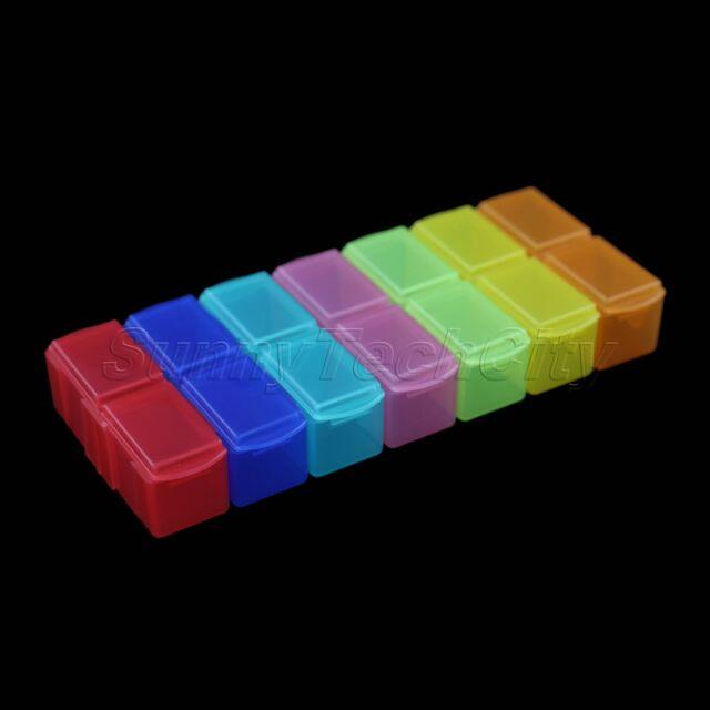 Detachable 14-Section Colorful Sorter Tablet Medicine Pill Box Organizer Case