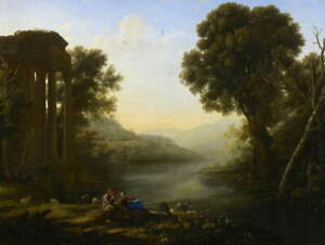 Claude-Lorrain-Pastoral-Landscape-Poster-Reproduction-Giclee-Canvas-Print