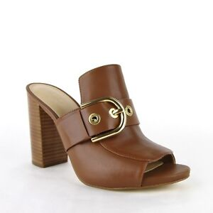 cd2fa4fb2 Michael Kors Women Brown Cooper Mule Leather Slip-on Open Toe Heels ...