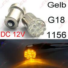 2x BA15S 1156 G18 P21W 9LED Standlicht Rücklicht Blinker Birne Lampe DC 12V Gelb