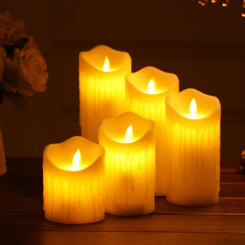 Electronic Flameless LED Candles Dripping Wax w// Remote Control Timer Smokeless