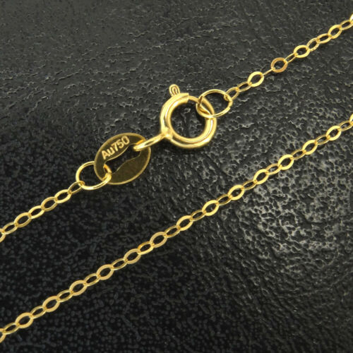 """Rolo Long Chain 10/""""-36/"""" 100/% Pure 18K Yellow Gold Necklace Genuine Au750"""