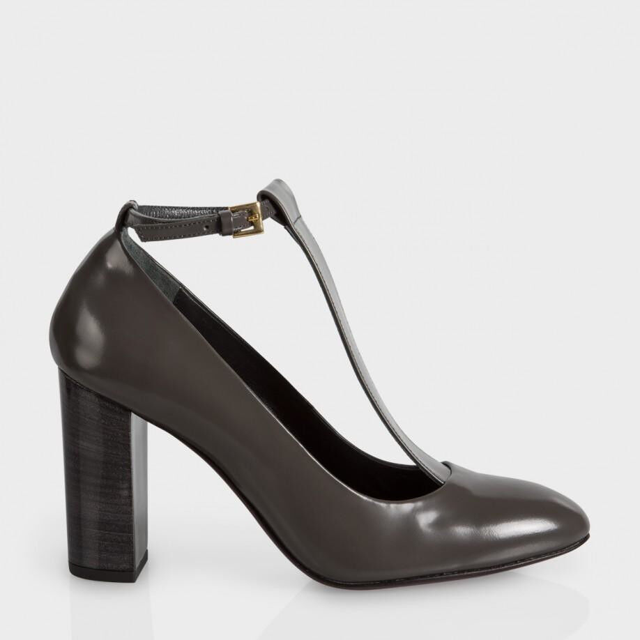 Paul Smith Radley T-Bar Leather Pumps Grey Sz 38 NWT  525