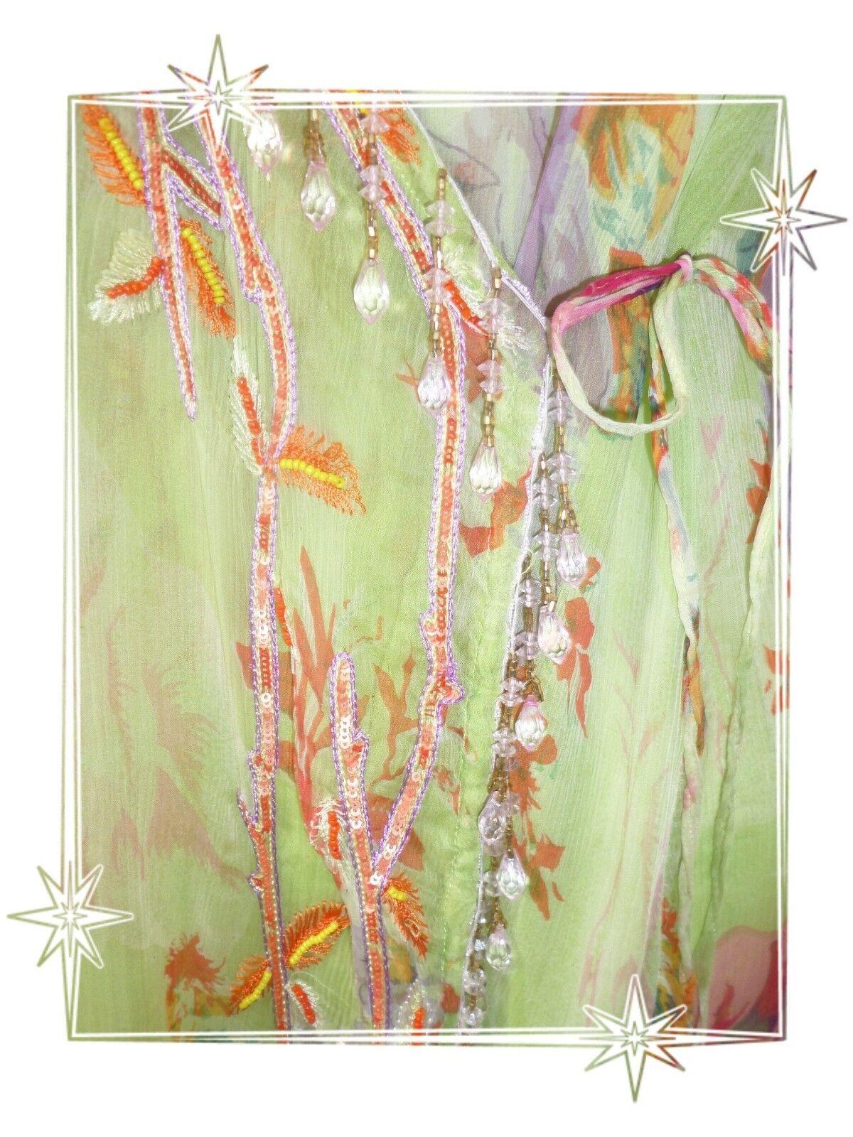 E - Robe Portefeuille Bretelles verde verde verde Imprimé Perles Etincelle Couture T 3 75aa7b