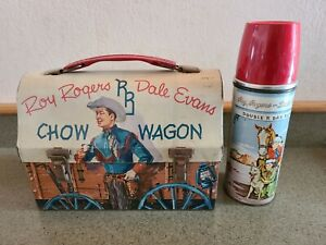 Vintage Roy Rogers Dale Evans Chow Wagon Metal Lunch Box And Thermos Cowboy Old