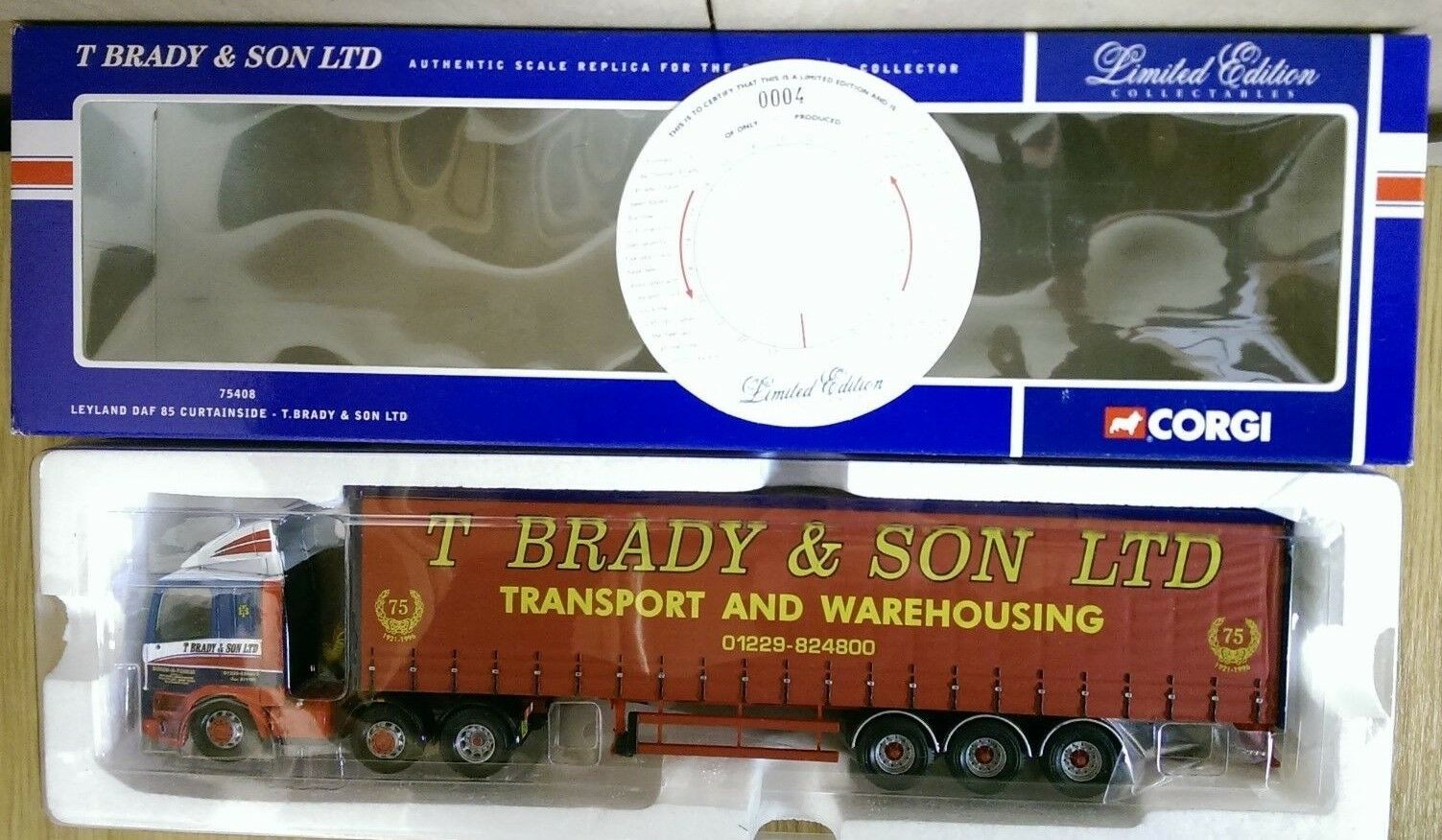 Corgi 75408 Leyland DAF 85 Curtainside T. Brady & Son Ltd Ed 0004 of 2600