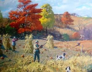 Autumn Hunters, Corn Stalks, Springer Spaniels 16 x 20 by Aiden Lassell  Ripley