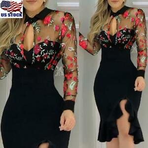 US-Women-Sexy-Lace-Mesh-Bodycon-Midi-Dress-Evening-Party-Cocktail-Clubwear-Dress