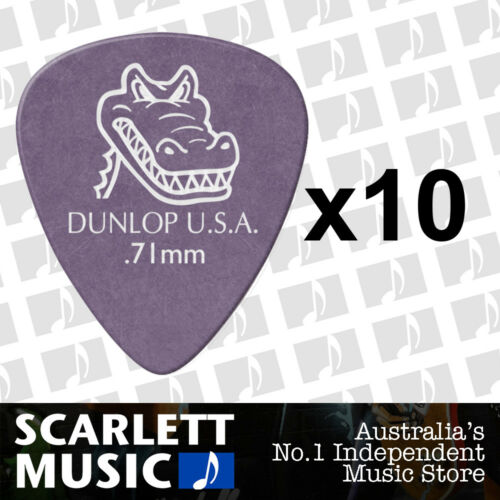 10 x Jim Dunlop Gator Grip 417R 0.71MM Gauge Guitar Picks NEW Plectrums Purple